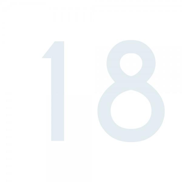 Zahlenaufkleber 18 weiß
