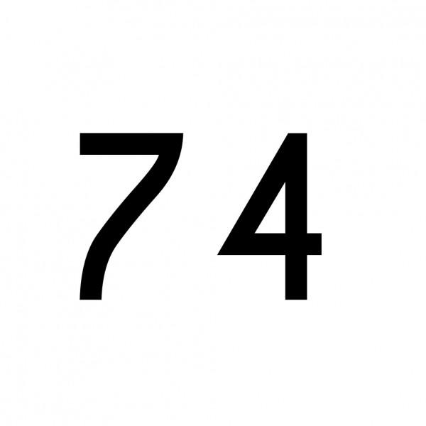 Hausnummer Aufkleber 74 schwarz