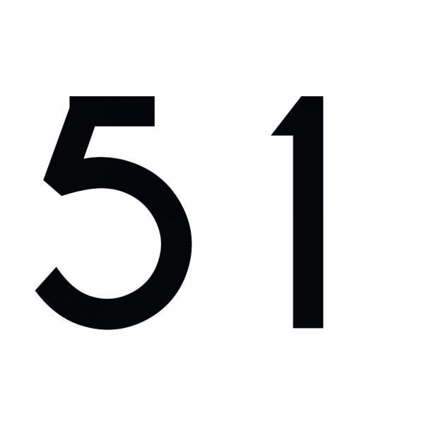 Zahlenaufkleber 51 schwarz