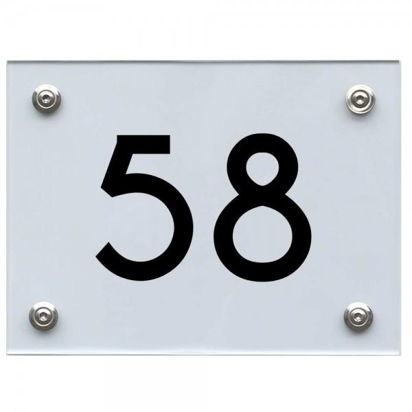 Hausnummernschild 58 schwarz