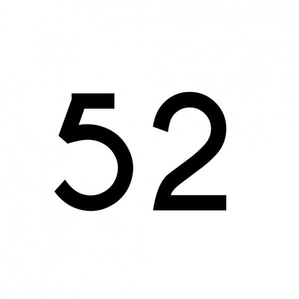 Hausnummer Aufkleber 52 schwarz