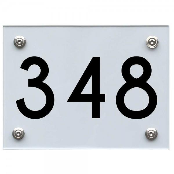 Hausnummernschild 348 schwarz