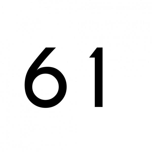 Hausnummer Aufkleber 61 schwarz