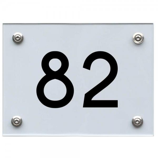 Hausnummernschild 82 schwarz