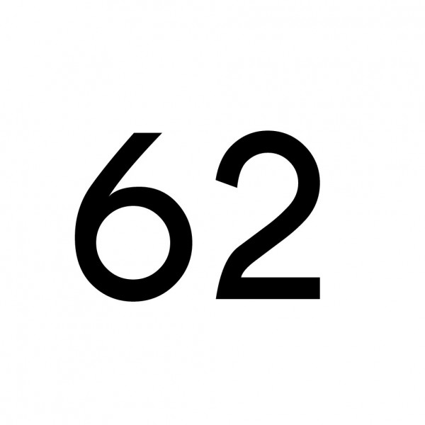 Hausnummer Aufkleber 62 schwarz