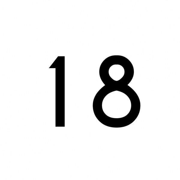 Hausnummer Aufkleber 18 schwarz